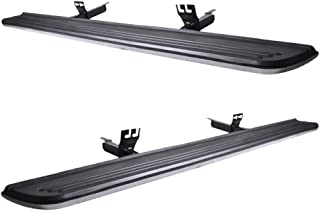 Running Board Compatible With 2003-2012 Land Rover Range Rover (NOT FIT SPORT) | Factory Style Brushed Silver Rubber Black Side Step Bars Extensions by IKON MOTORSPORTS | 2004 2005 2006 2007 2008 2009