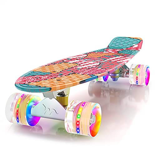M Merkapa Skateboards with Colorful LED Skateboard Wheels - Great Skateboards for Kids to Adults, Beginners to Skateboarders(Orange Block)