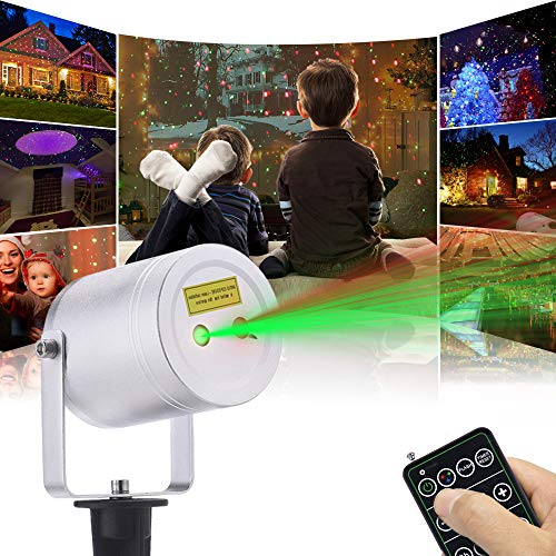 Ominilight Christmas Laser Light Red/Green/Blue Light, Aluminum Alloy Star Laser Show, RF Wireless Remote, Holiday Outdoor Projector Waterproof