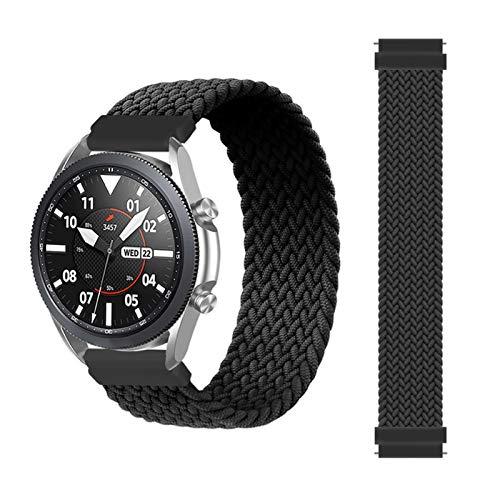 YGGFA Correa trenzada de 20 mm y 22 mm para Samsung Galaxy Watch 3/46 mm/42 mm/active 2/Gear S3 Pulsera ForHuawei Watch GT/2/2e/Pro (Color de la correa: negro, tamaño: XS (22 mm)