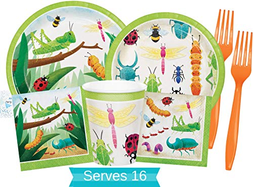 Bug Party Supplies and Decorations - Bug Party Plates and Napkins Cups & Forks for 16 People - Perfect Insect Birthday Party Decorations and Bug Birthday Party Supplies!