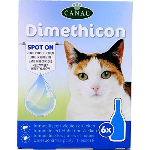 "DIMETHICON - ""Spot on"" pipette anti zecche e anti pulci per gatti, pipette x 6"