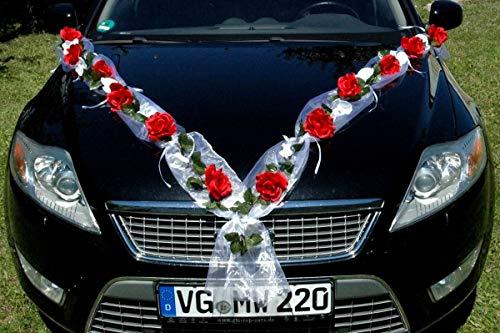 ROSEN GIRLANDE Auto Schmuck Braut Paar Rose Deko Dekoration Autoschmuck Hochzeit Car Auto Wedding Deko PKW (Rose Orchidee Rot/Weiß)