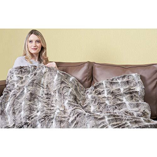 Verwarmingsdeken van kunstbont, groot, luxueus, Alaskan Husky, knuffelig, elektrisch verwarmd, 120 cm x 160 cm