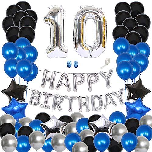 Huture Decoración del 10er Cumpleaños Feliz Cumpleaños Globo Guirnalda Banner Globo Metálico de Látex Cromado Negro Azul Plata Globo Número 10 Estrella de Corazón Papel Decoración de Cumpleaños