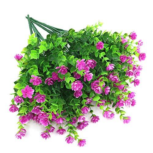 Shiwaki 5 Piezas de simulación de Flores Artificiales, Planta Verde, Planta de eucalipto, Ramo para jarrón, Porche, Ventana, Patio, Boda, decoración del hogar (Fucsia)