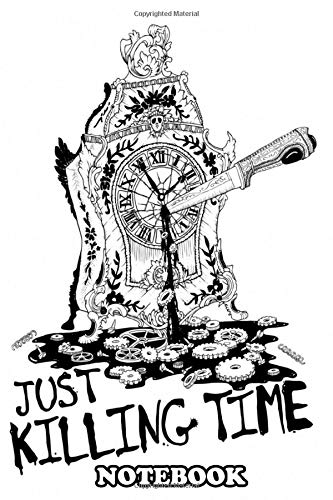 Notebook: Illustration Of An Intricate Mantel Clock Being Stabbed , Journal for Writing, College Ruled Size 6