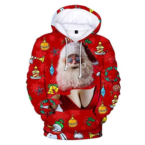 Mr.BaoLong&Miss.GO Otoño E Invierno Suéter De Los Hombres Suéter De Pareja De Navidad Sudadera con Capucha Deportiva De Navidad Chaqueta De Suéter Informal Rojo