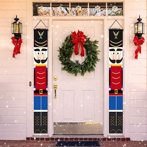 Nussknacker Weihnachtsdekorationen, Weihnachtskranz, Outdoor Weihnachtsdekoration - Lebensgroßer Soldat Modell Nussknacker Banner Für Haustür Veranda Garten Innen Außen Kinder Party Yard Gate 1 Paar