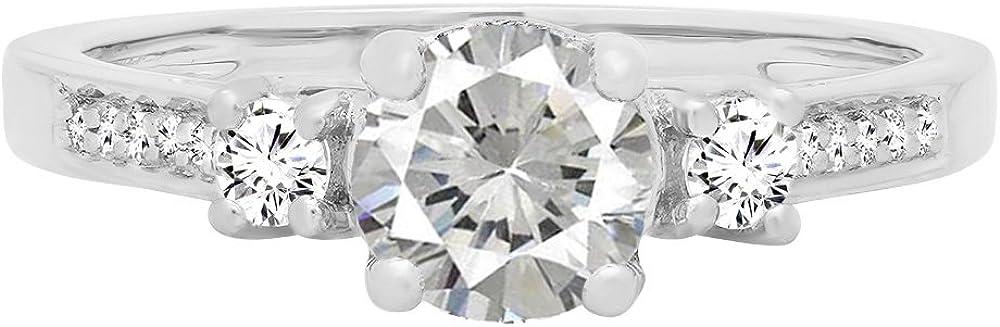 Dazzlingrock Collection 10K 5 MM Round Lab Created Gemstone & Diamond Ladies 3 Stone Engagement Ring, White Gold