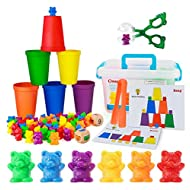BMAG Counting Bears with Matching Sorting Cups,Pre-School Math Learning Games with 2 Dices,Color Recognition STEM Educational Toy for Toddler Bonus Scissor Tong, Tweezers, Storage Box, Activity Cards