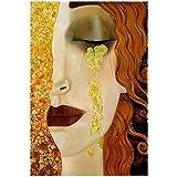 YCCYI Pintura sobre Lienzo Resumen Gustav Klimt Lágrimas Doradas y Besos Carteles e Impresiones Cuadros para la Sala de Estar 24'x35 (60x90cm) Sin Marco
