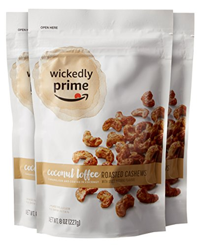 Amazon Brand - Wickedly Prime Roasted Cashews, Coconut Toffee, 8 Ounce (Pack of 3)