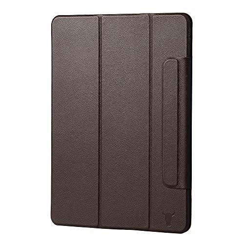 TORRO Funda magnética compatible con iPad Pro de 12.9 pulgadas de 5ª generación – Funda de piel auténtica con múltiples ángulos de visión, activación de activación/reposo 2021 (marrón oscuro)