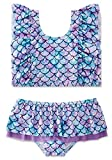 swimsobo Little Girls Bathing Suits Two Piece Swimsuits Flutter Sleeve Bikini Sets Mermaid Fish Scale Printed Ruffled Tulle Layers Bottom Swimwear for Summer Holiday Swimming Lesson 5T 6T