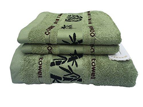 LSHARON Premium Bamboo Fiber 3 Piece Towels Set (1 Bath Towel, 2 Hand...