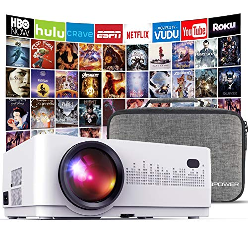 DBPOWER L21 LCD Video Projector with Carrying Case, 6000L 1080P Supported Full HD Projector Mini Movie Projector with HDMIx2/USBx2, Compatible with Chromecast/TV Stick/Smart phone/PC/Laptop/PS4/DVD