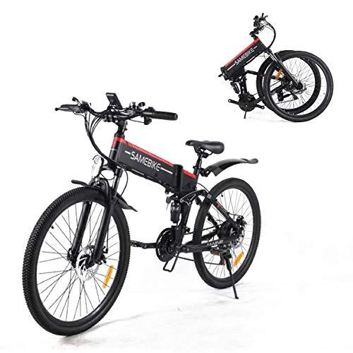 SAMEBIKE Biciclette Elettriche Pieghevoli per Adulti 48V 500W 10AH Mountain Biciclette elettrica 21 velocità Carico Massimo 150 kg Strumento LCD Centrale con Funzione USB [EU Stock]