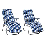 Outsunny Set of 2 Garden Sun Lounger Outdoor Reclining Seat Cushioned Seat Foldable Adjustable Recliner Blue and White