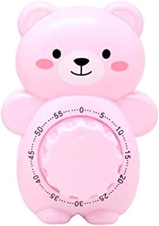 Fun Kitchen Timer, Caliamary Bear Mechanical Cute Kitchen Timers, Mini 55 Mins Animal Timer for Baking Cooking (Pink)