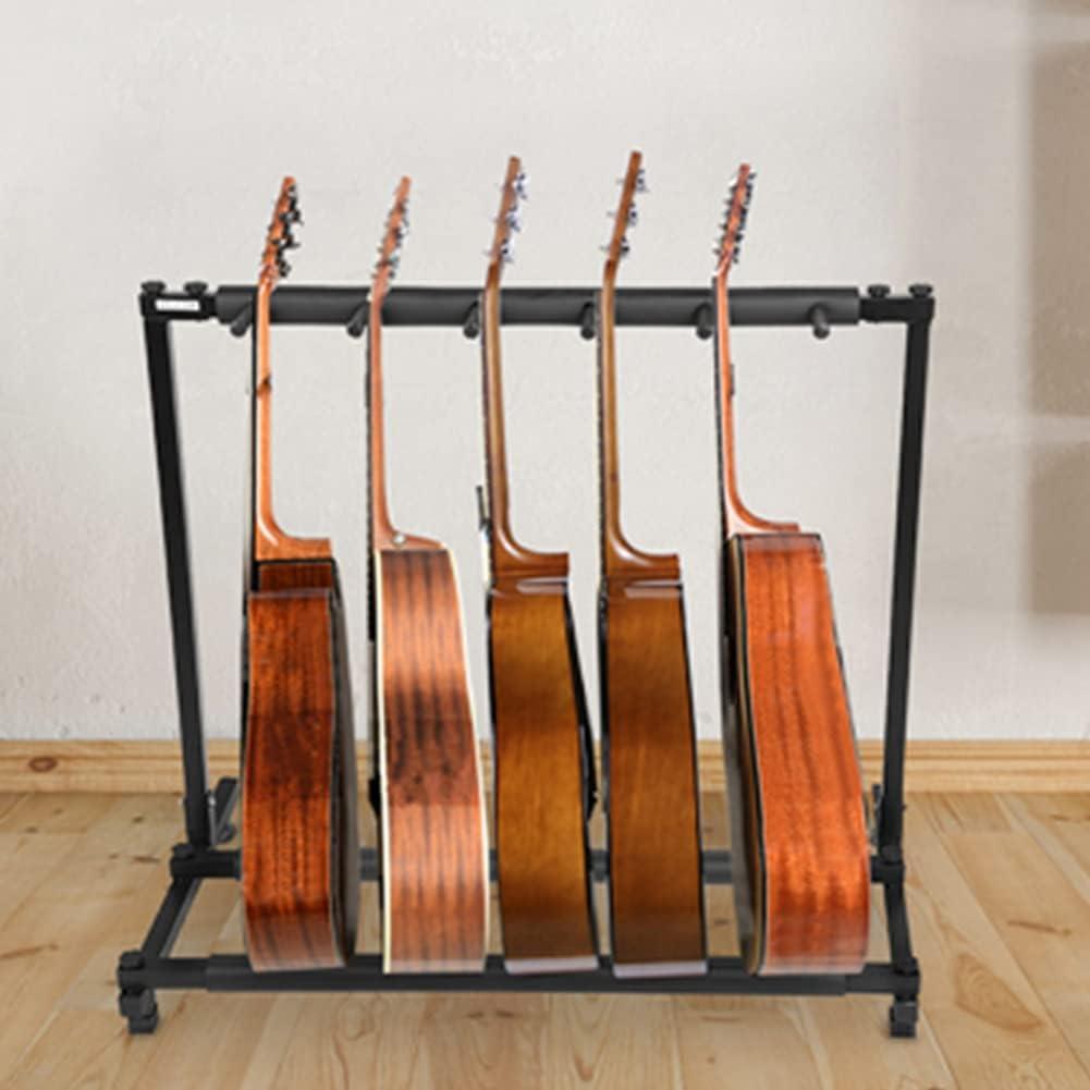 Robusto Metal Soporte para Sostener y Mostrar Guitarra Organizador para Guitarras Accesorios para Instrumentos Musicales (5 Espacios)