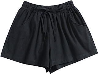 Beishi Womens Sport Shorts - Women Drawstring Solid Summer Casual Beach Elastic Waist Pocketed Shorts
