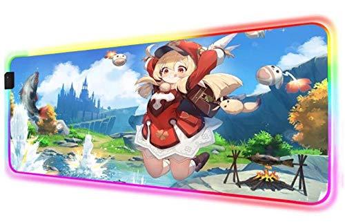 Juego Genshin Impact RGB Alfombrilla de Ratón para Juegos Gamer Girl, Computadora de Escritorio, Alfombrilla para Pc, Alfombra Led para Computadora Portátil, Alfombra 600X300X4 mm