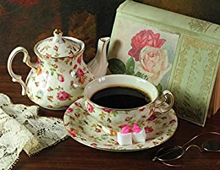 Victorian Trading Co Chintz Roses Tea for One Set with Teapot, Teacup & Saucer