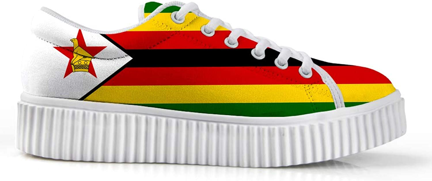 Owaheson Platform Lace up Sneaker Casual Chunky Walking shoes Low Top Women Zimbabwe Flag