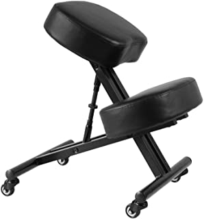 Sleekform Atlanta Adjustable Chair | Ergonomic Posture Corrective Chair, Knee Stool for Bad Back, Support, Neck Pain Relief, Computer Desk | Ergo Orthopedic Comfortable Faux Leather Cushions