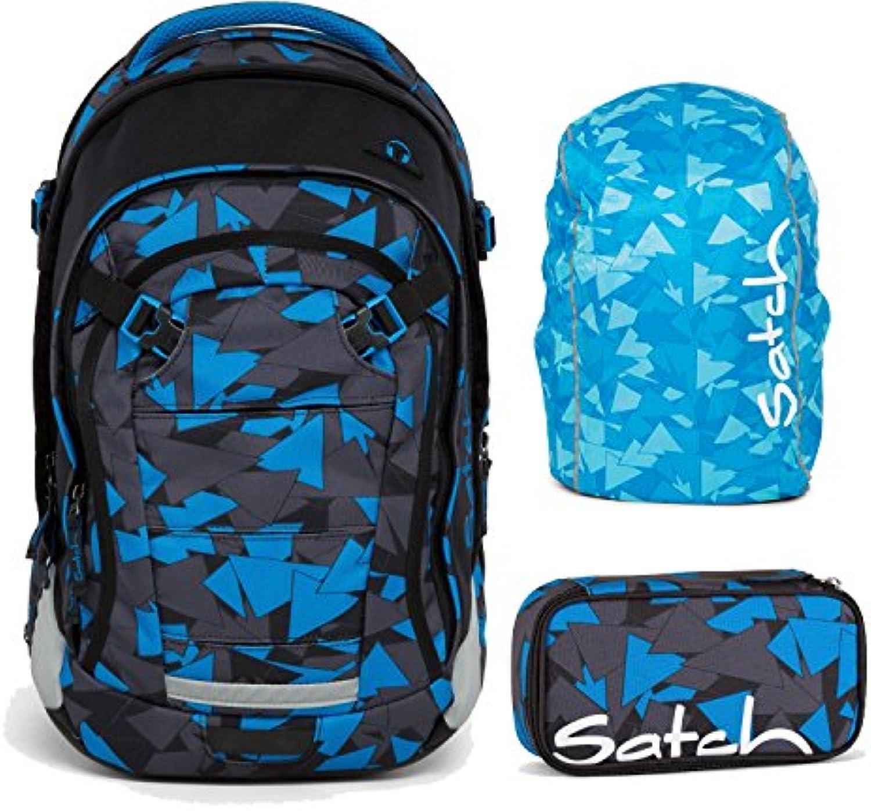 Satch MATCH by Ergobag Blau Triangle 3-tlg. Set Schulrucksack + Schlamperbox inkl. Geodreieck + Regenhaube Blau - Wchst mit bis 180cm Krpergre