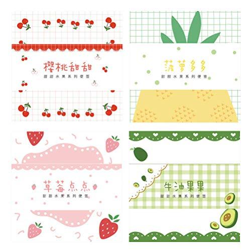 Sweet Fruit Series 4 Creative Fresh Message Memos Bloc de notas 4 (Fruta de aguacate+Fresa Dian Dian+Piña Duo Duo+ Cherry Sweet)
