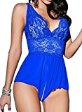 Women Lingerie Sheer Lace Mini Babydoll Teddy Sexy Bodysuit Backless Sleepwear (L, Blue)