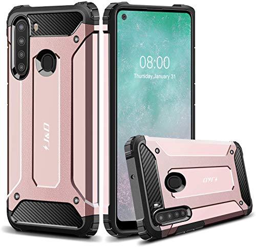 J&D Compatibile per Samsung Galaxy A21 (Verizon/US Cellular) Cover, Armatura Sottile Doppio Strato Ibrida Antiurta Protettiva Rigido Custodia (Non per Unlocked/T-Mobile/Sprint), Rosa Oro