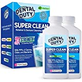 Dental Duty Super Clean Retainer & Denture Cleansing Powder-(2 Pack) Effervescent Antibacterial Dental Cleaner for Dental Appliances – Removes Bad Odor, Plaque & Stains – Made in USA –6 Months Supply