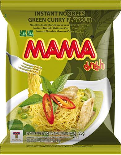 MAMA Instantnudeln mit dem Geschmack von grünem Curry – Instantnudeln orientalischer Art – Authentisch thailändisch kochen – 24 x 55 g