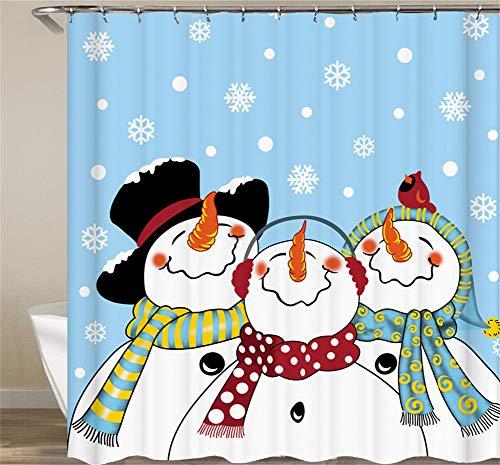 ZZZDZ schattige sneeuwpop met hoed en sjaal douchegordijn. 180 x 180 cm. 12 vrije haken. Decoratie voor in huis. 3D-HD-druk. Makkelijk schoon te maken. Badkameraccessoires.
