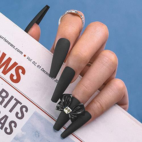 Sethexy Lange Schwarz Falsche Nägel Ballerina Nägel aufkleben Matt Sarg Falsche Fingernägel Bowknot Nägel mit Kleber 24St Acryl Kunst Nagelspitzen zum Aufdrücken für Frauen und Mädchen