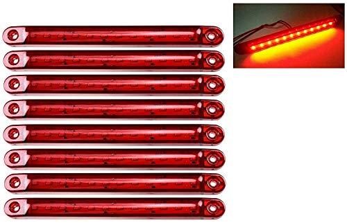 EONHUAYU LED-Seitenmarkierungsleuchten, LKW-Seitenmarkierungsanzeigen 10 Stück LED-LKW-Seitenlichter 12 SMD LED-Seitenmarkierungsleuchte vorne hinten Seitenlicht Positionsleuchten 24V (Rot)