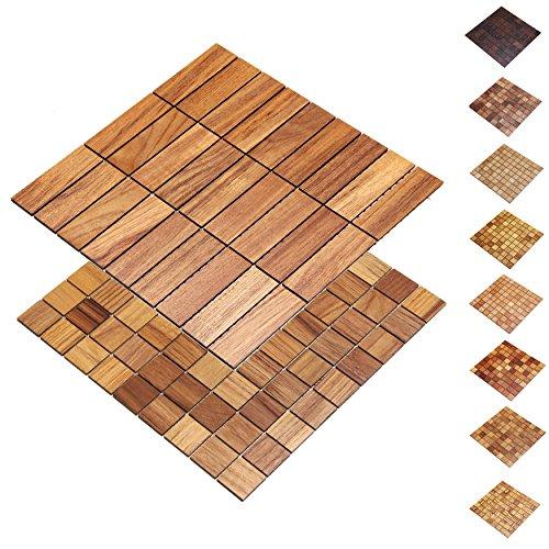 wodewa Holz WandverkleIdung Holzmosaik Fliese 28x28cm Teak Echtholz Wandpaneele Moderne Wanddekoration Holz Holzverkleidung Fußboden Decke 30x93mm
