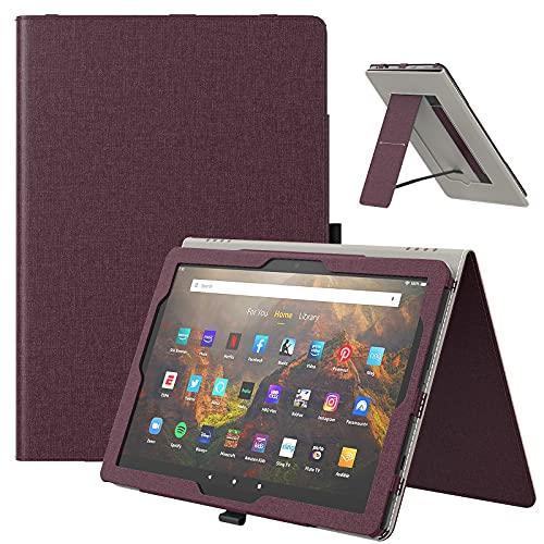 TiMOVO Funda para Todo Nuevo Fire HD 10 & Fire HD 10 Plus Tablet (10.1', 11.ª Generación, 2021), Funda con Ranura para Tarjeta y Correa de Mano (Auto Sueño/Estela), Vino Rojo