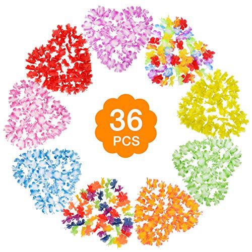 HIMETSUYA Flores Hawaianas,36 Piezas Guirnalda Hawaiana Collar Pulsera Coloridos Reutilizables de Leis Fuentes de la decoración de la Tela del Poliester para la Ceremonia del Partido Vacaciones