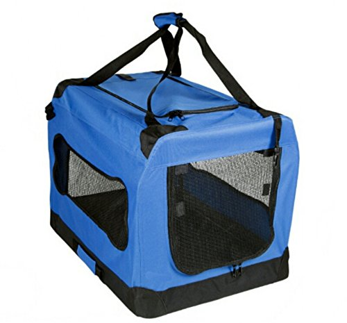 Soft Sided Pet Carrier with Steel Frame - Dog House Style Portable Pet Crate - Cats & Dogs - Designed for Comfort & Safety - Padded Fleece Bedding Washable Fabric Cover Locking Zipper (Blue)