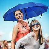 UROPHYLLA Windproof Travel Umbrella, Compact Folding Umbrella Automatic Open Close, WIND-DEFYING 9-RIB Lightweight Small Umbrella for Backpack - Sapphire
