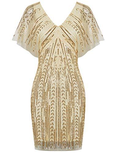 Coucoland 1920s Kleid Damen Kurz Ärmel V Ausschnitt Flapper Kleid 20er Jahre Paillettenkleider Great Gatsby Cocktail Party Damen Fasching Kostüm Kleid (Beige, XL)