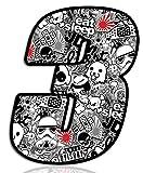Biomar Labs® Número 3 DC Bomb Calavera Vinilo Adhesivo Pegatina Coche Auto Motocross Moto Sport Start Racing Tuning N 343