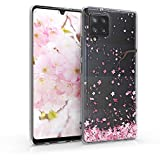 kwmobile Funda Compatible con Samsung Galaxy A42 5G - Carcasa de TPU y Flores Cerezo cayendo en Rosa Claro/marrón Oscuro/Transparente