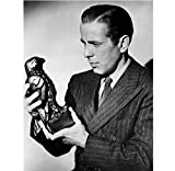 Humphrey Bogart as Samuel holding and looking at Maltese Falcon statue The Maltese Falcon 8 x 10 Inch Photo