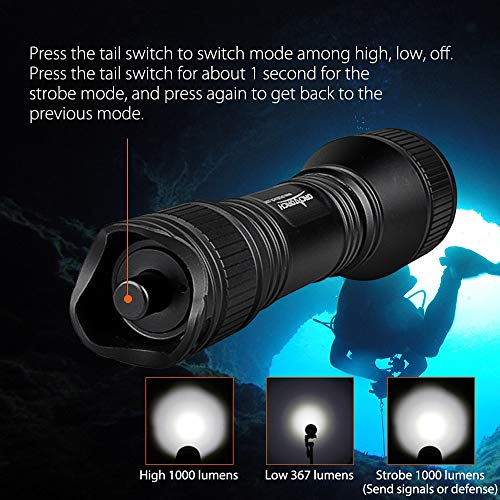 ORCATORCH Upgraded Version D550 Dive Light 1000 Lumens Scuba Safety Torch XM-L2 LED Submarine Flashlight with 3400mAh Battery, Charger, Wrist Strap, Lanyard, Waterproof O-Rings