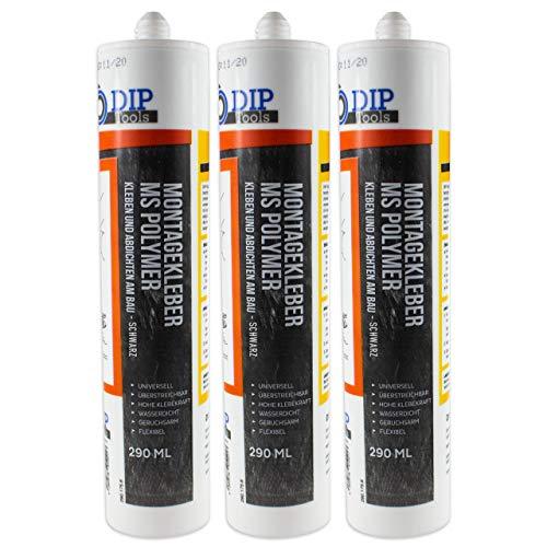 DIP-Tools Universal-Montagekleber - extra stark zum Kleben und Dichten (3x290ml, schwarz)